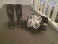 Kids dirt bike boots and body armour to