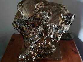 bronze colour panther bust