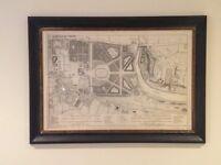 Framed print of Old Map of Kensington Palace Gardens