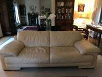 Natuzzi cream Italian leather sofa abd chair