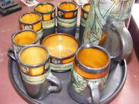 complete coffee set includes ( coffee pot ,milk jug sugar bowl , 6 mugs & tray ) beautiful