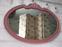 Vintage oak ornate bevelled edge mirror
