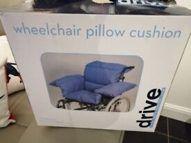 DRIVE WHEELCHAIR PILLOW CUSHION, ONLY USED ON ONE OCCASION, BOXED, BLUE