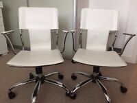 2 Modern White office chairs