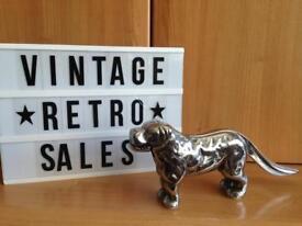 Huge Rare Vintage Chrome/Silver Plated Dog Nutcracker Ornament