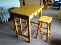 Small Kitchen Table and 2 matching stools