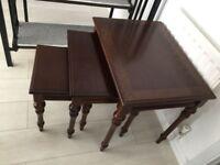 3 dark brown wood coffee table / side tables