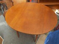 Vintage retro teak wooden mid century folding kitchen dining table 60s 70s Danish G plan style