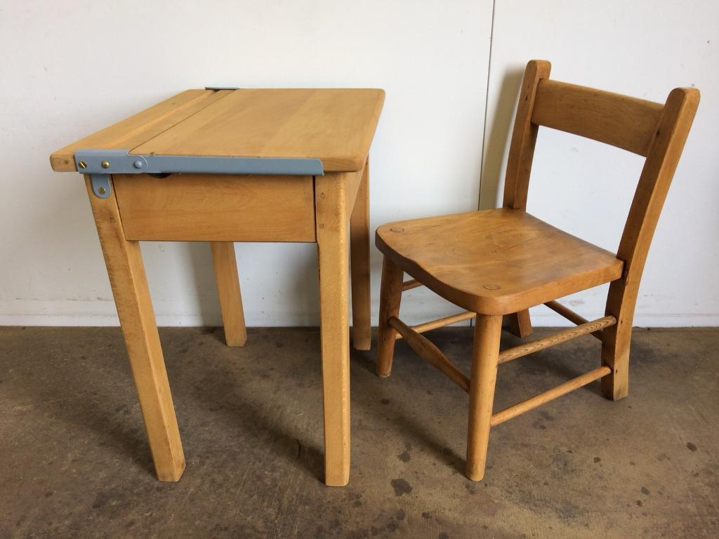 Antique child's lift top desk and chair.