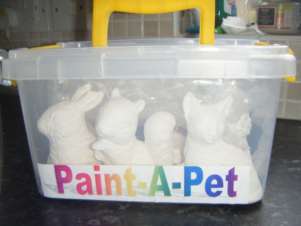 ideal gift 6 herculite plaster animals plus paints poster or acrylic 2 brushes and lovely carry case