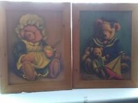 x2 large retro cute Teddy Bear pictures in wooden frames