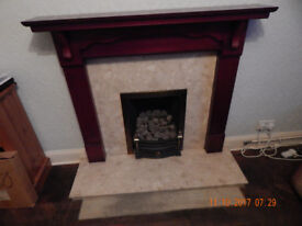 Mahogany effect fire surround with marble infill and hearth