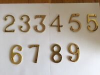 SOLID BRASS NUMBERS AND 1 x LETTER A - Sold Individually