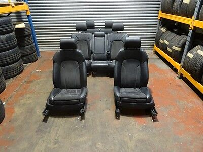 *AUDI Q7 SLINE 07-15 COMPLETE HALF BLACK LEATHER SUEDE INTERIOR SEATS DOOR CARDS