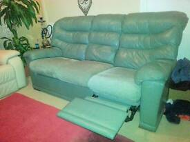 3 seater recliner in green leather