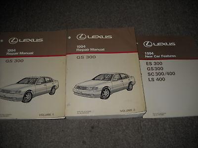 1994 Lexus GS300 GS 300 Service Repair Manual Set W NEW CAR FEATURES BOOK
