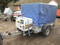 SPECIAL BUILD 7 X 4-6 X 4-6 COVERED BOX TRAILER WITH DIESEL GENERATOR...