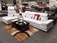 NEW - SARINA CORNER SUITE - LEFT OR RIGHT - WHITE & BROWN - DELIVERED NATIONWIDE