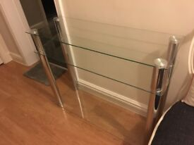 Hygena chrome and glass console table