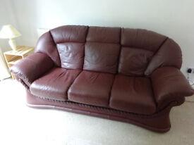 Leather settee sofa three seater