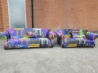 Superb Brand New Fabric Patchwork Sofa Suite in Printed Crushed Velvet , 3+2, Can deliver