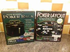 Brand New. Poker sets. Table layout, rack etc