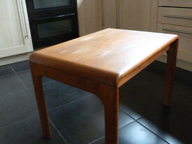 Heavy low wooden table with makers label - Dereham location