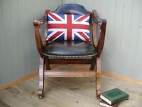 Stunning Green Vintage Leather and Oak Chair