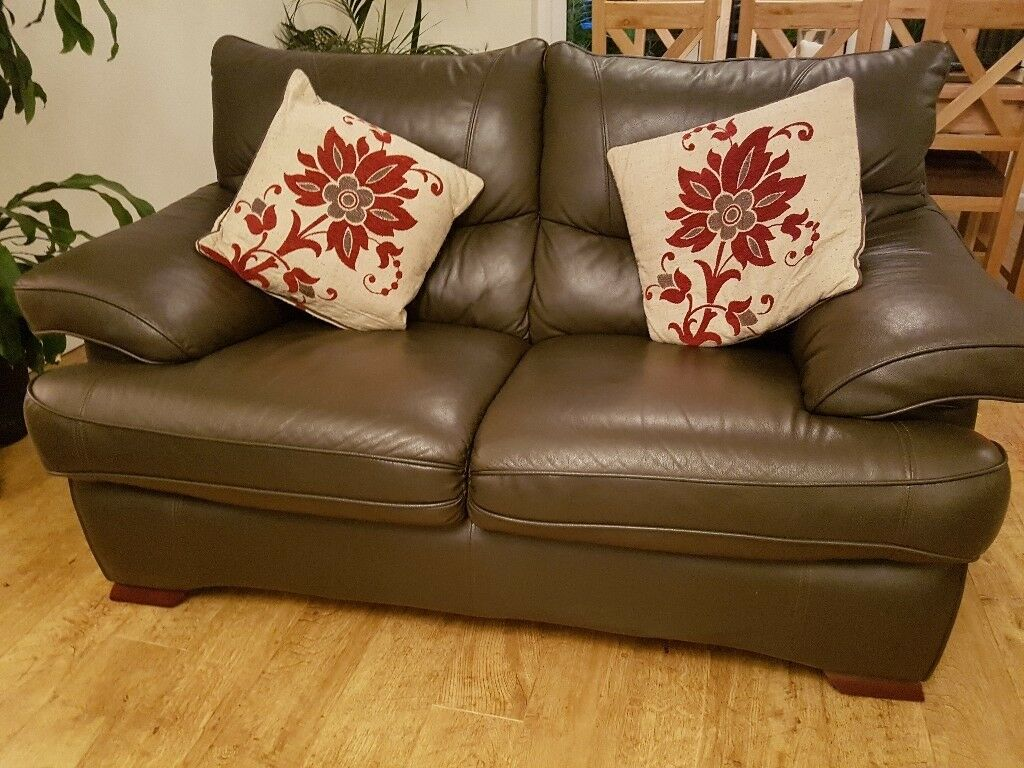 Single With Matching 2 Seater Sofa Immaculate Brown Faux Leather In