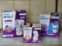 Brand New Avent Breast Pump - Avent Breast Pads - Avent Breast Milk Containers x10