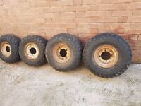 """""""full set"""" ATV SUZUKI quad tyres and wheels two 24/11/10 and two 22/8/10"""