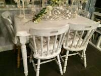 REDUCED - Farmhouse style pine dining table and 4 chairs