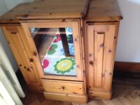 Solid pine ducal storage unit for stereo