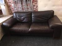 3 seater brown leather.