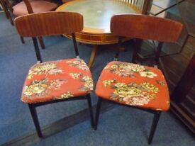 2 retro wood chairs.