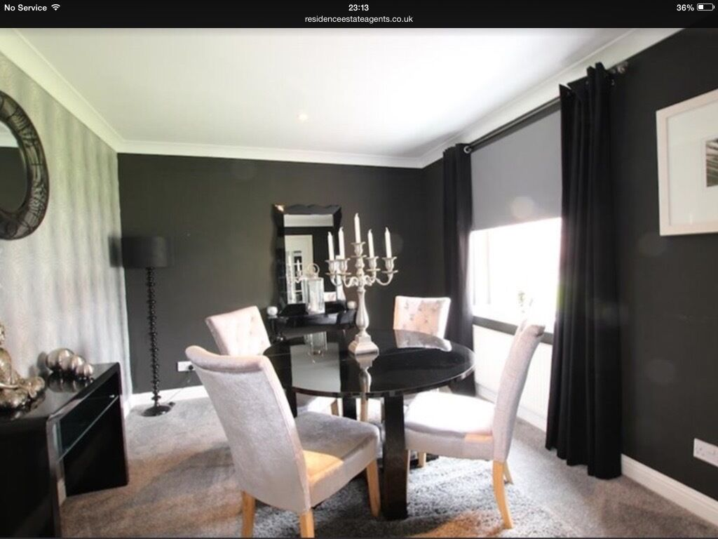 Next Black High Gloss Dining Table and Velvet Chairs in Blantyre