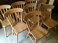 8 fantastic solid oak farmhouse chairs!