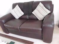 Retro style. Orvieto Klimt dark brown hide 2 seater sofa and 2 chairs
