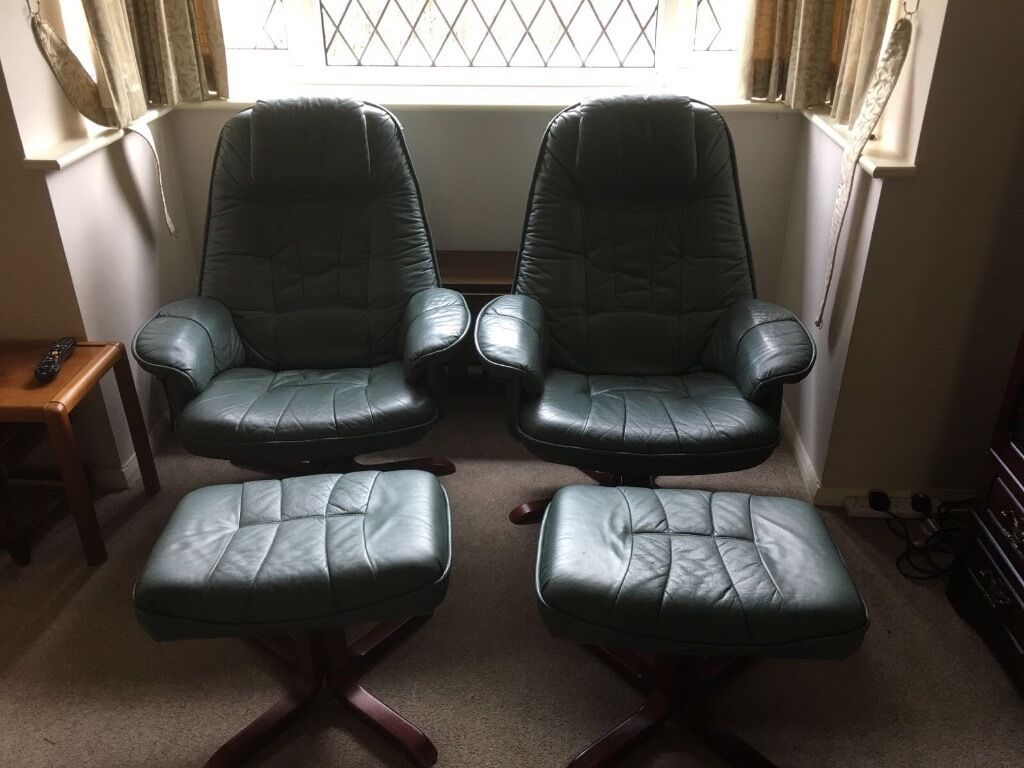 Green Leather Sofa Setin Gloucester, GloucestershireGumtree - 3 seater sofa, 2x reclining chairs and footstalls. Collection only. Green coloured, great condition