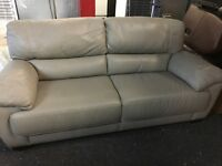 ScS New/Ex Display Grey Leather 3 Seater Sofa
