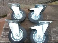 Castor wheels heavy duty 160 or 200 mm wheels with rubber tyres.