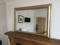 LARGE GOLD FRAMED OVERMANTLE WALL MIRROR, LANDSCAPE