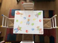 Children's Table and four chairs Bespoke hand painted. By Dragons of Walton street London. Used.