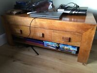 Wooden low table with draws