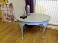 Refurbished Shabby Chic Vintage Coffee Side Lamp Occasional Table with Queen Anne Legs