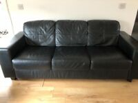 3 seater 2 seater black leather sofa