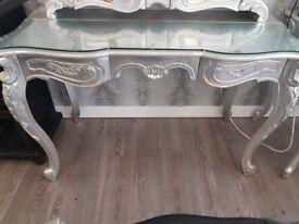 Vintage large dresser with bespoke glass top