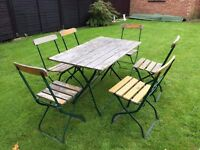 German Beer Garden table and 6 chairs