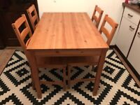 Solid pine Ikea Jokkmokk dining table and 4 chairs