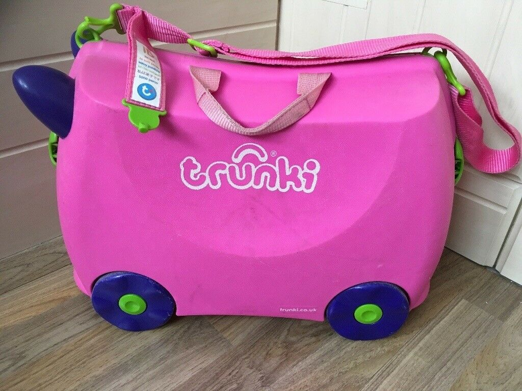 Children's ride on trunki suitcase trixie pink with additional saddlebag accessory